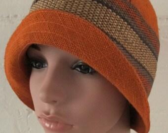 Vintage Orange Linen Hat, vintage cloche hat, orange cloche hat, linen orange hat, vintage cloche, orange vintage hat, linen hat