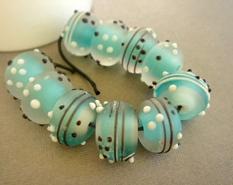SRA Lampwork Beads, Etched Turquoise Beads, Destash Lampwork Beads - 10 beads