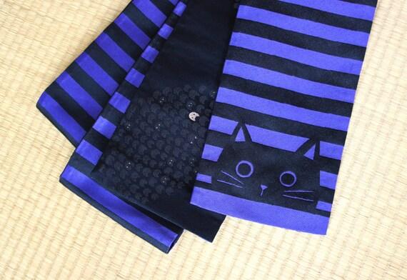 Purple black striped hanhaba obi with cats, cat yukata obi, hanhaba obi violet, modern obi belt black, Japanese reversible obi belt, neko