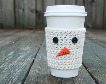 Coffee Cozy - Reusable Coffee Sleeve - Crochet Coffee Sleeve - Teacher Gift Ideas - Snowman Gift - Eco Friendly Gift - To Go Coffee Sleeve
