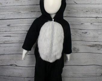 Skunk Fleece Baby Costume, Skunk Baby Outfit, Skunk Infant Costume, Skunk Halloween Costume