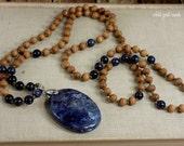 Blue Dumortierite Mala, Sandalwood Necklace, Yoga Beads, Boho Jewelry