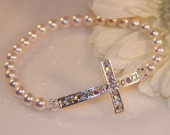 Swarovski Pearl and Rhinestone Sideways Cross Bracelet
