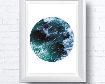 Ocean Waves Printable Photo Wall Art, Modern contemporary poster download (8x10 and various sizes) Gallery Wall Print