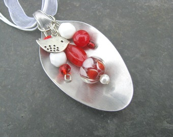 Spoon Necklace, Red and White Beads, Bird Charm, Upcycled, Repurposed Silverware, Spoon Jewelry