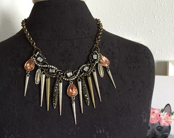 Sugar and Spikes Statement Necklace// edgy rocker glam chic bib necklace one of a kind over the top statement jewelry mixed metals bling