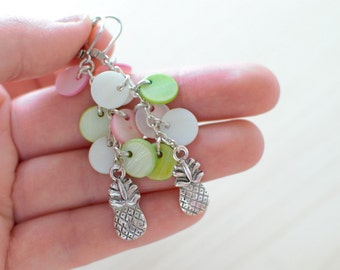 Earrings silver and mother of Pearl pineapple tart - tropical collection - earrings dangling clusters - metal and mother of Pearl