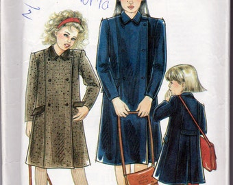 New Look 2044, Girls Sizes 3 to 12 Years Coat Sewing Pattern, 6 Button Front Closure with Contrast Collar and Pocket Flaps, Uncut