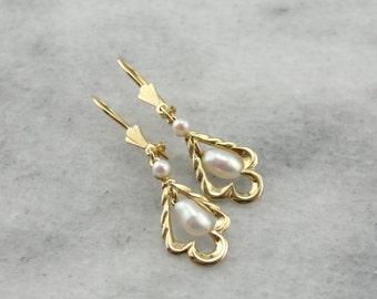 Modern Era: Freshwater Pearl Earrings in Gold  6ZY997-P