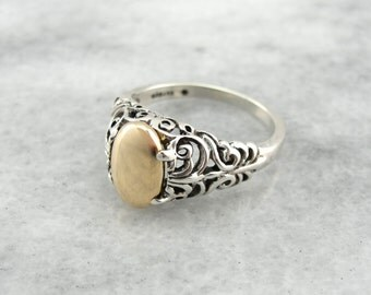 Two Tone Upcycled Filigree Ring  DWAZ1F-N