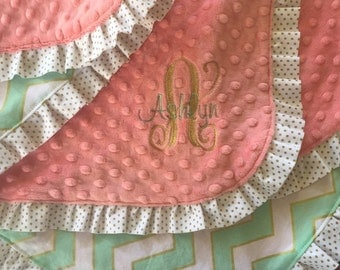 Mint, Gold and Coral Minky Baby Blanket