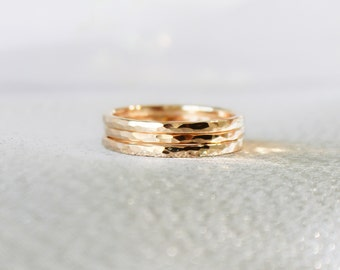 Gold Ring Set, Classic Gold Stack Rings, Three 14k Gold Filled Rings, Stacking Rings, Stackable RIngs, Minimalist Jewelry, Hammered Rings,