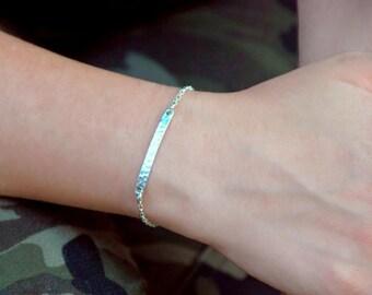 Hammered bar bracelet, Silver bar bracelet, Delicate bracelet for women, Gift for her, 1138