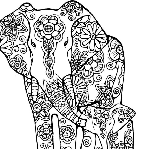 elephant coloring page to print and color nature flowers adult coloring page original instant digital download - Elephant Coloring Pages