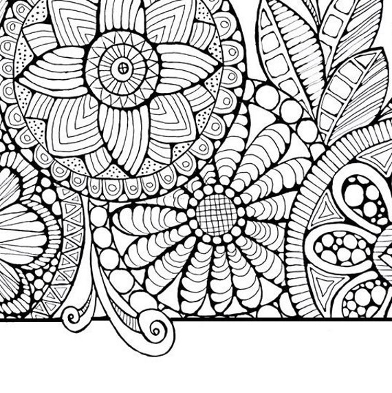 Adult Coloring Page Cirlces And Swirls By Littleshoptreasures