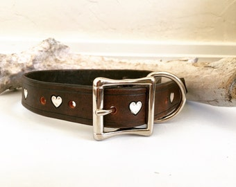 Dark brown leather dog collar with white hearts
