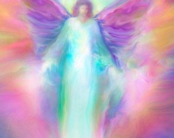 ARCHANGEL Raphael Healing, Guardian Angel, Large Signed Giclee Print Angel Art by Glenyss Bourne