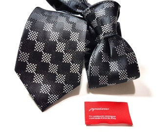 Silk Tie with Woven Squares of Black Charcoal Silver
