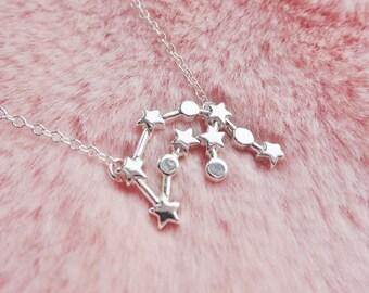 Aquarius Constellation Star Sign Zodiac Astrology Space Sci Fi Dainty Silver Pendant Necklace Jewellery Jewelry