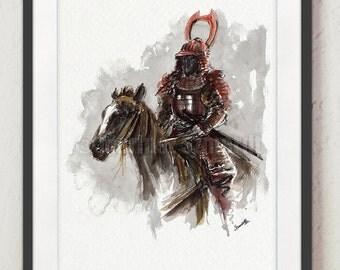 Samurai on horse, samurai poster, japanese warrior painting, watercolor portrait, surreal art.