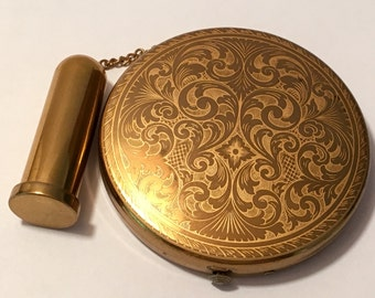 Vintage Dorset Fifth Avenue Gold Tone Filagreed Powder Compact With Lipstick Holder On A Chain- Mirrored Compact