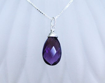 Briolette Amethyst Pendant in Solid Sterling Silver , Wire Wrapped , February Birthstone , 33rd Anniversary , from Canada