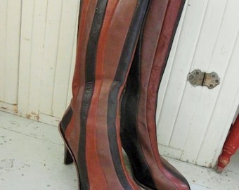 1990's, Striped, Tall, Leather Boots, High Heels, by TSUBO