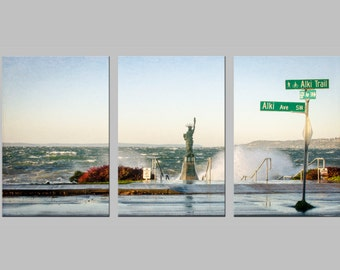 Alki Beach and Statue of Liberty. Puget Sound. West Seattle. Pacific Northwest Travel Photography. Metal Triptych Print. FREE SHIPPING.