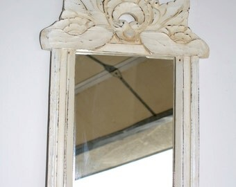 Shabby Chic Mirror Hand-Carved Wood