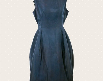 1950s Vintage teal blue dress