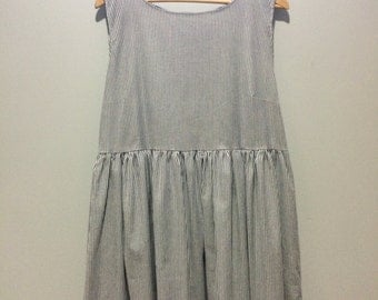 Prairie Dress - blue and white striped cotton with pockets