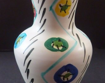Cute Little Vintage 1950s MID CENTURY Italian Ceramic Vase with Hand Painted Abstract Design