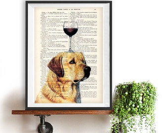 Illustration of Labrador with wine glass Art Print on recycled french book page, funny print as a gift, dog print, christmas gift
