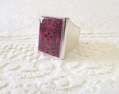 Red Burgundy Arabesque Ring, Mediterranean Geometric Resin Unisex Jewelry