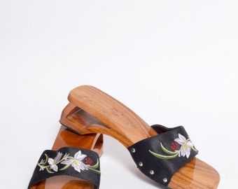 Vintage 90's Wood Sandals with Black and Purpe Flower Design