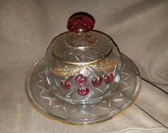 Vintage Glass Cherry Butter Dish