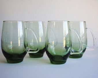 25% OFF SALE - Vintage Green Glass Mugs, s/4