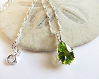 Peridot Necklace, Sterling Silver Necklace, Semi Precious Gemstone Necklace, August Birthstone Necklace, 16th Wedding Anniversary Necklace