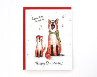 Holiday Cards - Christmas cards - singing fox - happy holidays - merry christmas / HLY-FOX