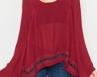 Red Burgandy Long Bell Sleeve Top