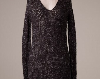 Black Knit Crochet Long Sleeve Tunic