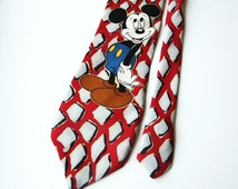 Disney tie Mickey mouse tie vintage red green necktie mens accessories made in germany
