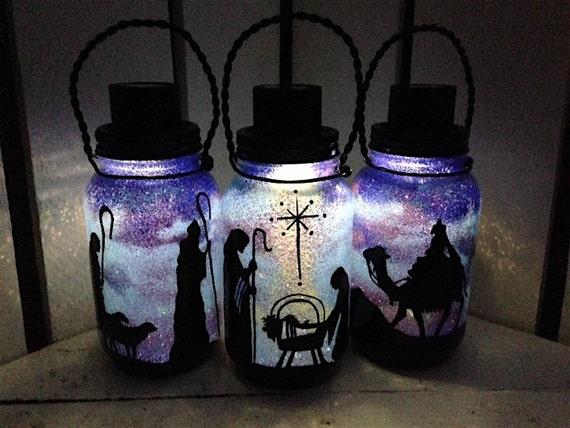 Nativity SET OF 3 Mason Jar Solar Light Hand By
