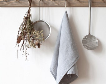 Light Grey Stone Washed Linen Tea Towel