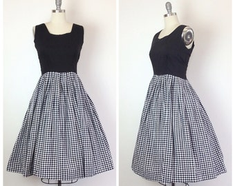 60s Cotton Black and White Checkered Dress / 1960s Vintage Gingham Fit and Flare Day Dress / Medium / Size 8