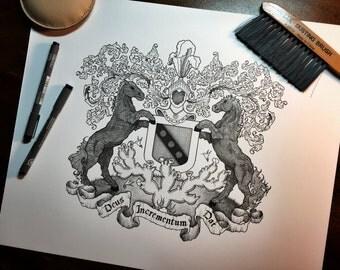 11x14 Custom Coat of Arms Heraldry Design - Art Commission - Family Crest Art Illustration - Ancestry - Heraldic Artwork