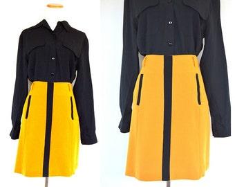 Mustard and Black Skirt