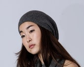 Charcoal slouchy hat / dark gray beanie knit hat woman / alpaca wool slouchy beanie / over sized hat /  knit unisex hat gray knitted beanie