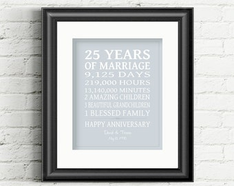 25th Wedding Anniversary Gift, 25 Year Anniversary Gift 25th Anniversary Gift Silver Anniversary Personalized Gift for Parents Gift for Wife