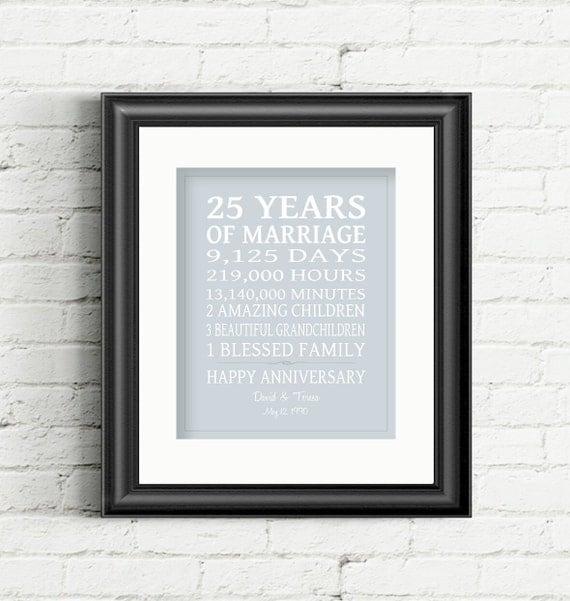 25th Wedding Anniversary Gift, 25 Year Anniversary Gift 25th ...